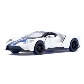 Машина металлическая Ford GT, масштаб 1:38, открываются двери, инерция, цвет белый