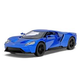 Машина металлическая Ford GT, 1:38, открываются двери, инерция, цвет синий