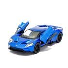 Машина металлическая Ford GT, 1:38, открываются двери, инерция, цвет синий - фото 105651342