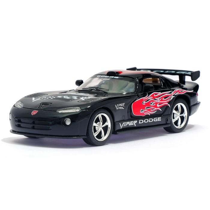 Машина металлическая Dodge Viper GTSR, 1:36, открываются двери, инерция, цвет чёрный