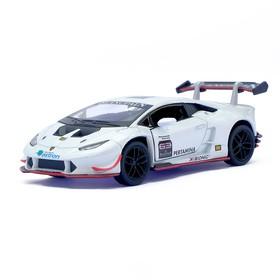 Машина металлическая Lamborghini Huracán LP620-2 Super Trofeo, 1:36, инерция, открываются двери, цвет белый