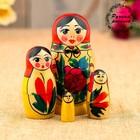 Matryoshka Semenovskaya, red scarf, 4 doll, 9 cm