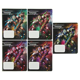 """Notebook 12 sheets line Calligrata """"Space robot"""" cover coated cardboard 190 g/m2, 5 types MIX"""