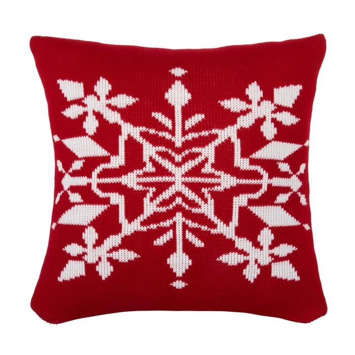 """Чехол на подушку вязаный """"Этель"""" Снежный рисунок, 35х35 см, 100% полиэстер"""