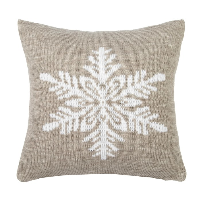 """Чехол на подушку вязаный """"Этель"""" Снежинка, 35х35 см, 100% полиэстер"""