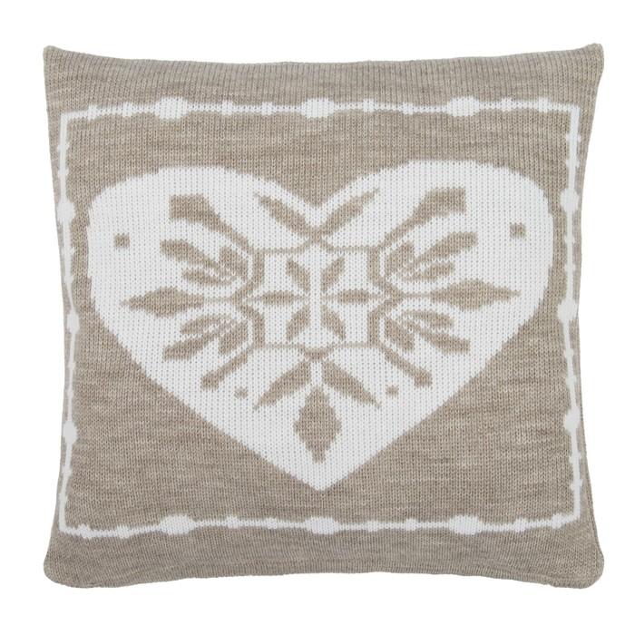 """Чехол на подушку вязаный """"Этель"""" Сердце, 35х35 см, 100% полиэстер"""