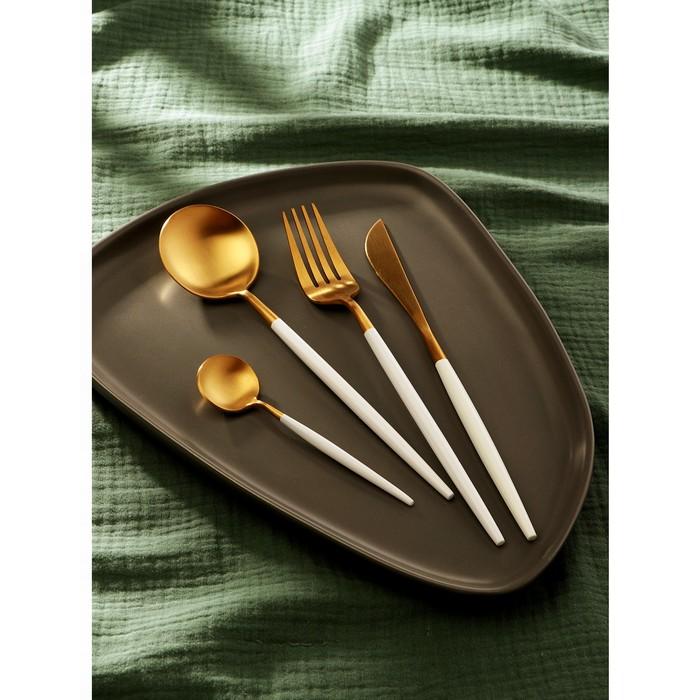Набор столовых приборов Magistro «Фолк», 4 предмета, цвет золотой, белая ручка - фото 948788