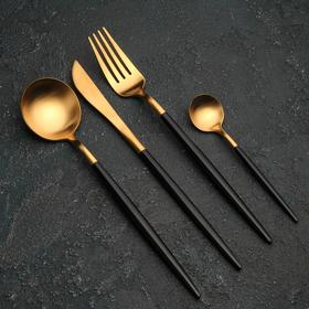 {{photo.Alt || photo.Description || 'Набор столовых приборов, Magistro «Фолк», 4 предмета, золото, чёрная ручка'}}