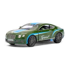 Машина металлическая Bentley Continental GT Speed, 1:38, открываются двери, инерция, цвет зелёный