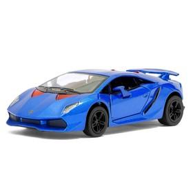 Машина металлическая Lamborghini Sesto Elemento, 1:38, открываются двери, инерция, цвет синий
