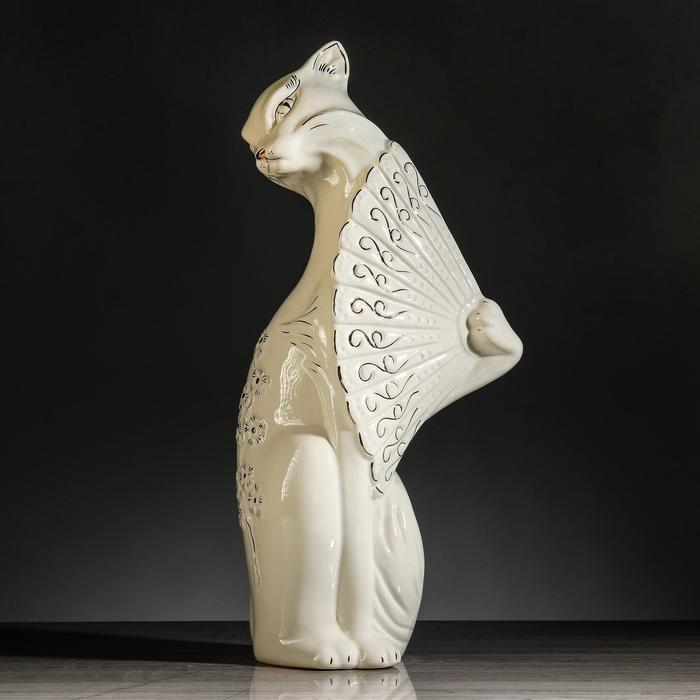 """Копилка """"Кошка с веером"""", покрытие лак, белая, 44 см"""