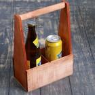 Carrier for 2 bottles with wooden handle, 21х11,5h30,5 cm, mocha