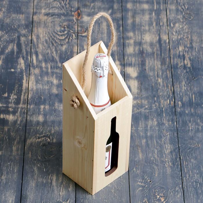 Переноска для бутылки из массива сосны, с верёвочной ручкой, 9,5х33х11см