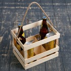 Переноска для 6 бутылок  с деревянной ручкой, 25х18х25см, натуральное