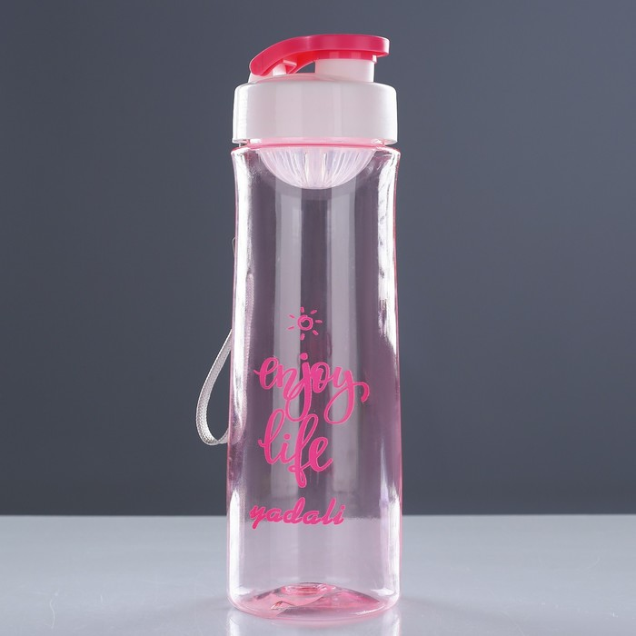 "Бутылка для воды ""Enjoy life"" 600 мл, на браслете, микс, 7х7х23 см - фото 726253471"