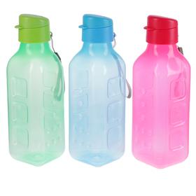 Бутылка для воды 750 мл fun&fun, выпуклая, на шнурке, микс, 8х8х26 см Ош