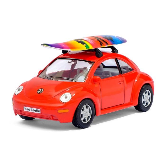 Машина металлическая VW New Beetle, 1:32, открываются двери, инерция, цвет красный