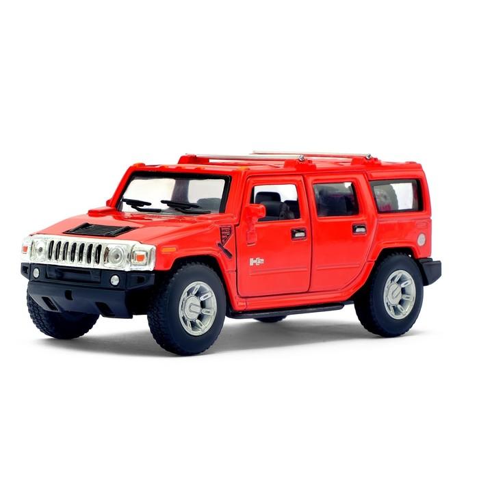 Машина металлическая Hummer H2 SUV, 1:40, открываются двери, инерция, цвет красный