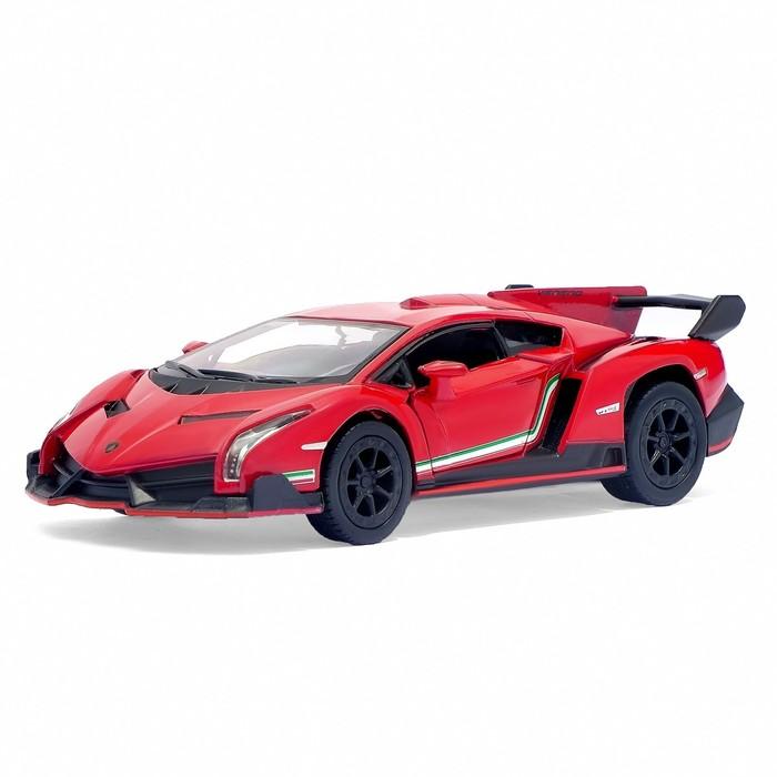 Машина металлическая Lamborghini Veneno, 1:36, открываются двери, инерция, цвет бордовый