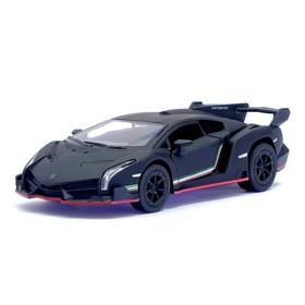 Машина металлическая Lamborghini Matte Series, 1:38, открываются двери, инерция, цвет чёрный матовый