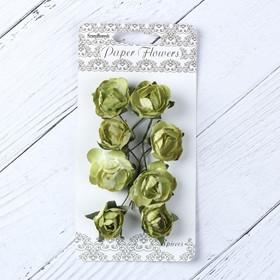 """Цветы розы бумажные """"Зеленые"""" набор 8 шт"""