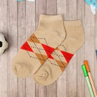 """Low socks for boy Collorista """"Cell"""", size 17 (6-8 years), beige"""