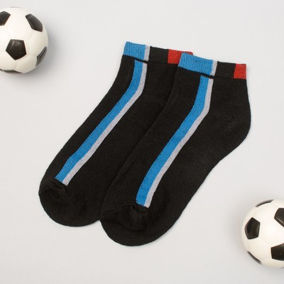 "Low socks for boy Collorista ""Strips"", size 17 (6-8 years), type 1, color black"