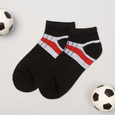 "Low socks for boy Collorista ""Strips"", size 17 (6-8 years), type 2, color black"