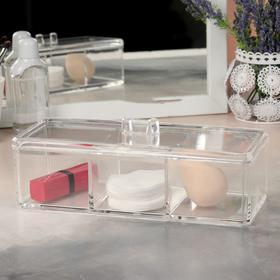 A container for storing cosmetics, with cap, 3 pockets, color: transparent