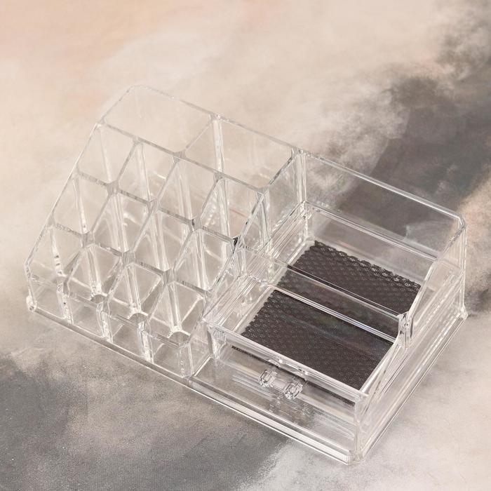 Органайзер для хранения косметических принадлежностей, 16 секций, с ящиками, цвет прозрачный