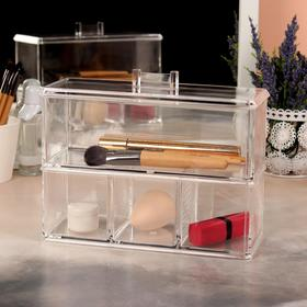 Box for storage of toiletries, with a cover, 4 sections, color transparent