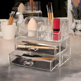 The storage box cosmetic accessories, 11 sections, 2 drawers, color: transparent