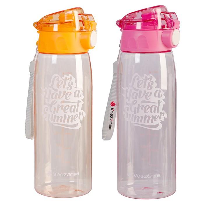 """Бутылка для воды """"Let's have a real summer"""", 1000 мл, прозрачная, микс, 8х9х25.5 см"""