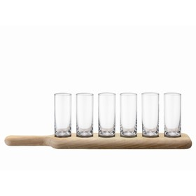 Набор из 6 стопок и деревянной подставки Paddle, прозрачное стекло