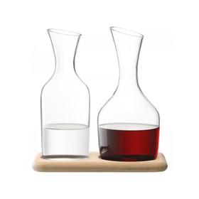 Набор из графинов для вина и воды на деревянной подставке, 1,2 л/1,4 л