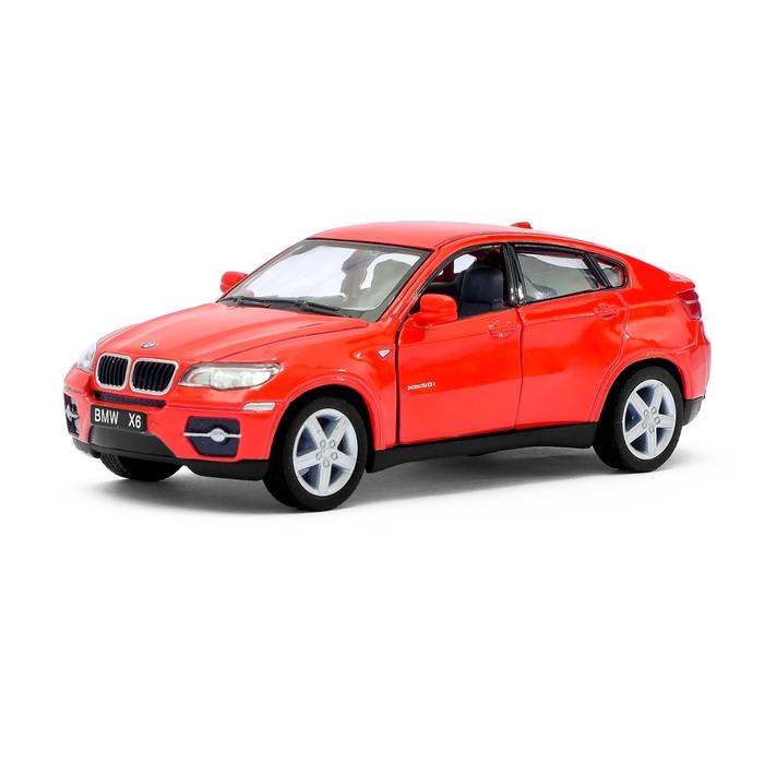Машина металлическая BMW X6, 1:38, открываются двери, инерция, цвет красный