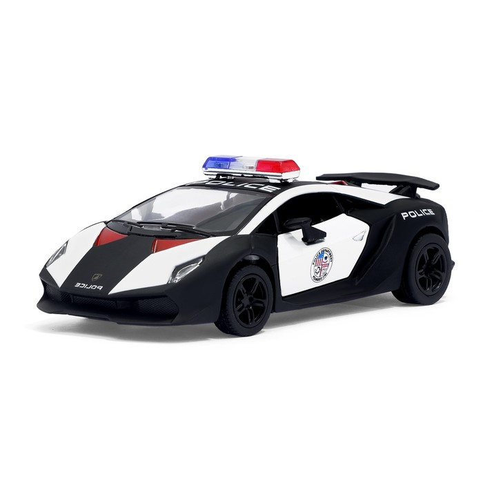 Машина металлическая Lamborghini Sesto Elemento (Police), масштаб 1:38, открываются двери, инерция, МИКС