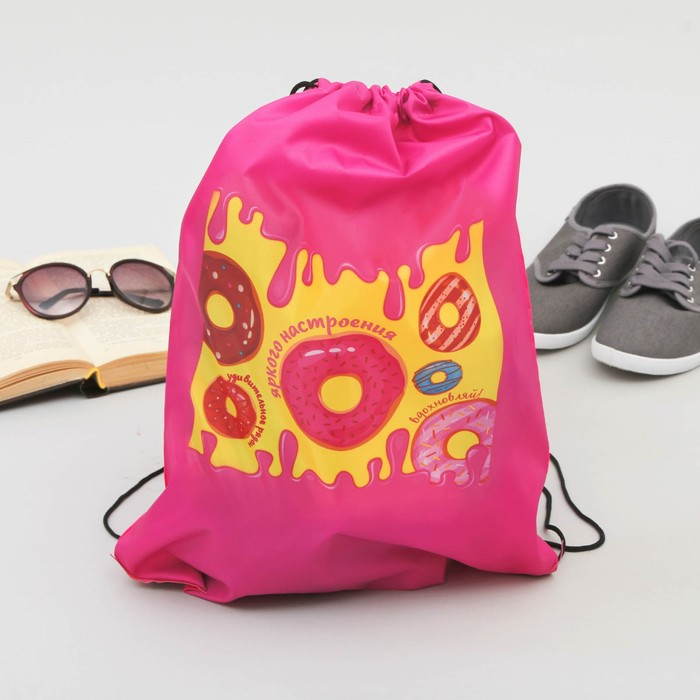 """Сумка-рюкзак для обуви """"Пончики"""", 43 х 38 см"""