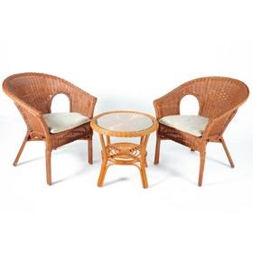 Набор мебели, 3 предмета: столик, 2 кресла, с подушками, ротанг, цвет коньячный