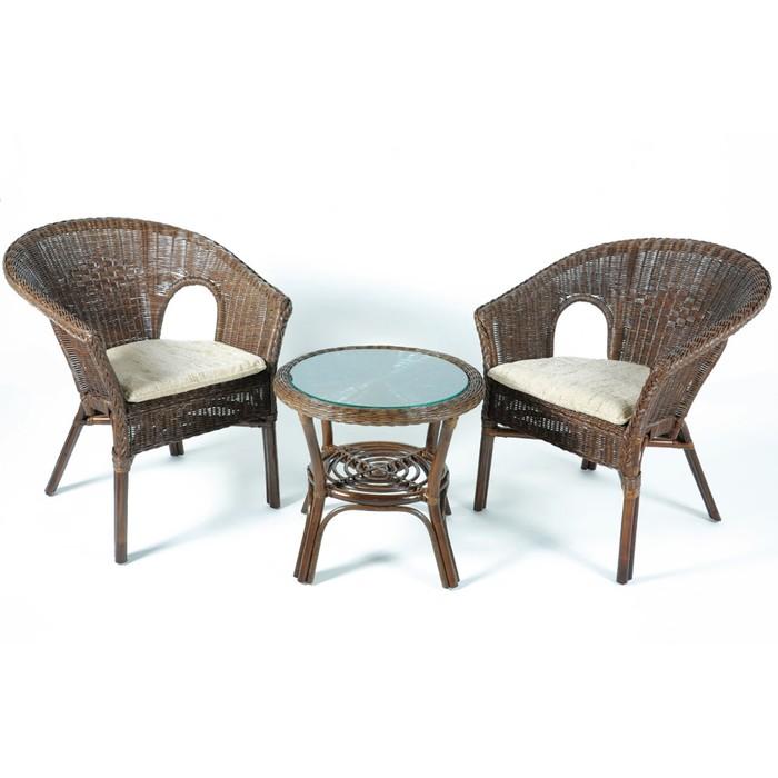 Набор мебели, 3 предмета: 2 кресла, стол, натуральный ротанг, цвет тёмно-коньячный, с подушкой, 02/08