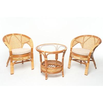 Набор мебели: два кресла, стол, цвет коньяный, с подушкой, 02/15