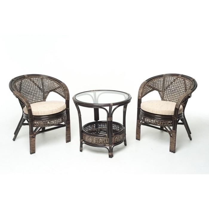 Набор мебели, 3 предмета: 2 кресла, стол, с подушкой, натуральный ротанг, цвет тёмно-коньячный, 02/15