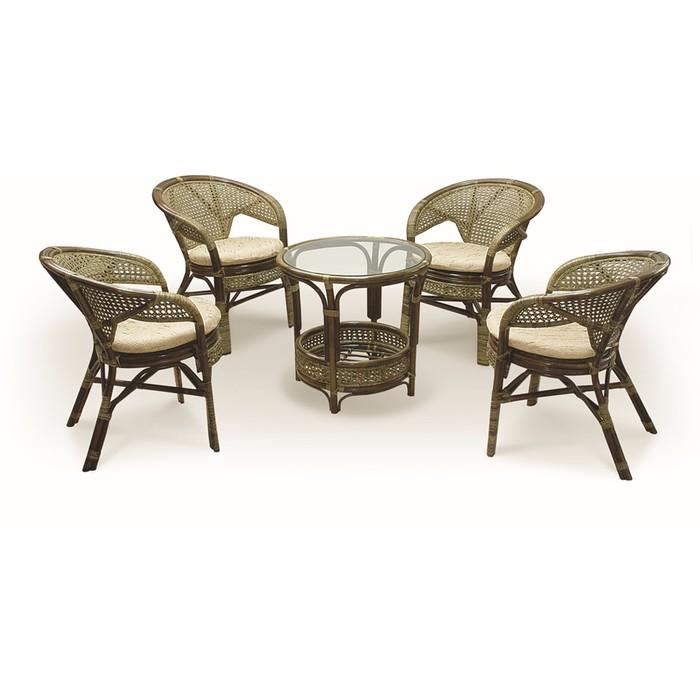 Набор мебели, 5 предметов: 4 кресла, стол, с подушкой, натуральный ротанг, цвет оливковый, 02/15
