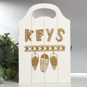 Key holder wood 4 hooks