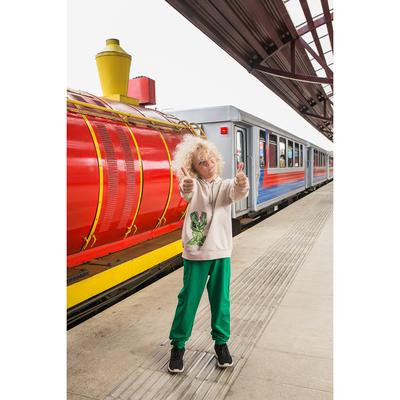 """Спортивный костюм для мальчика """"Динозавры"""", рост 134-140 см, цвет бежевый/зелёный"""