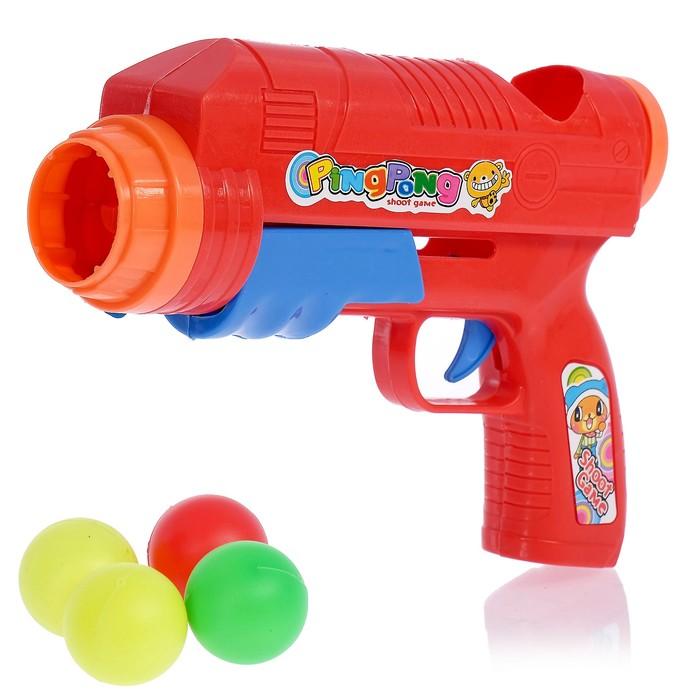 """Пистолет """"Пинг понг"""", стреляет шариками, цвета МИКС"""