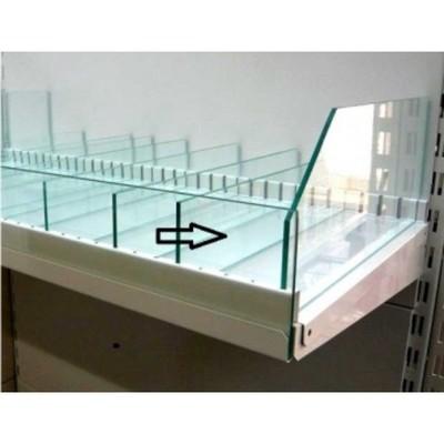 Фасадное стекло 890х120 мм, на полку, стекло 5 мм