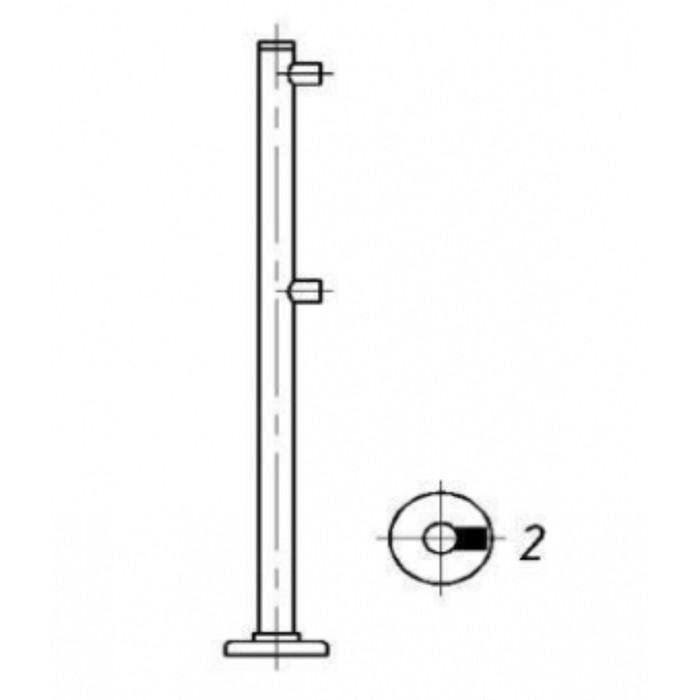 Стойка для ограждения двухуровневая, односторонняя, без муфт, d50мм