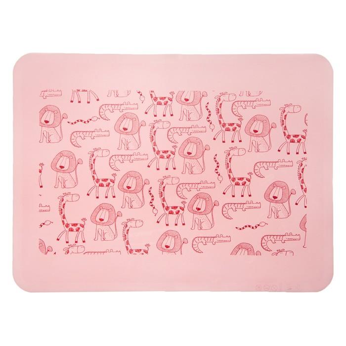 Коврик силиконовый детский, для кормления, антискользящий, от 5 мес., цвет розовый