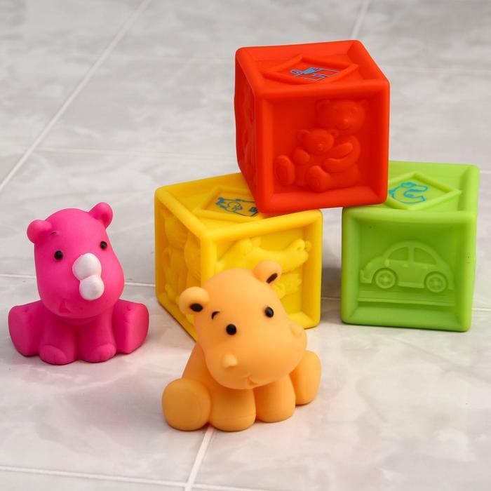 Набор резиновых игрушек для игры в ванной «Кубики и зверята», 5 шт.